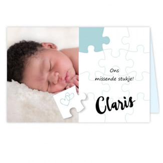Geboortekaartje Fotokaartje puzzelstukje