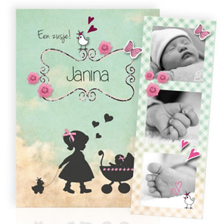 Geboortekaartje Silhouet en fotostrip