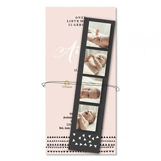 Geboortekaartje Fotostrip roze