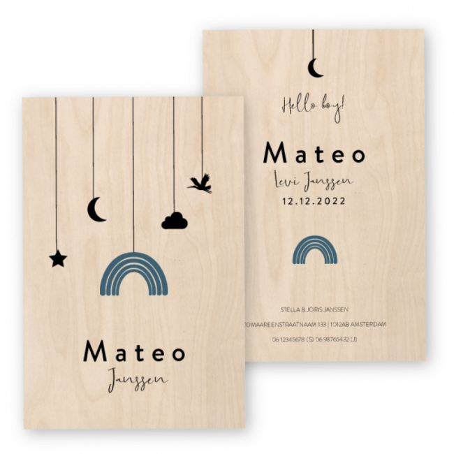 Geboortekaartje Geboortekaart Hout Matteo