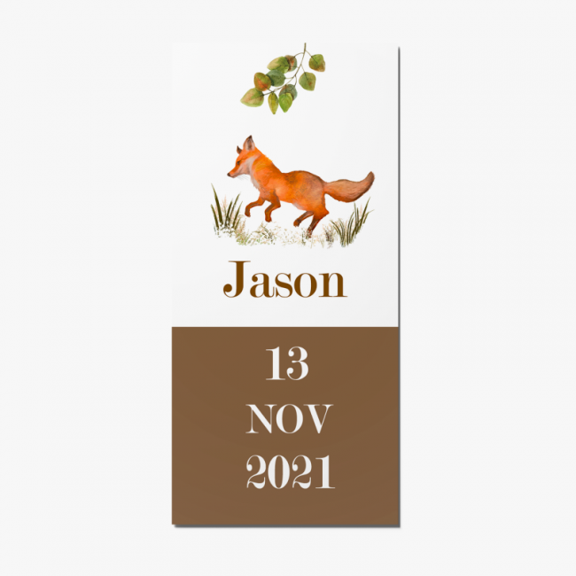 Geboortekaartje Geboortekaart met vos