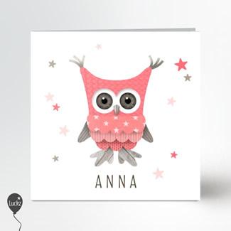 Geboortekaartje Geboortekaart roze uil