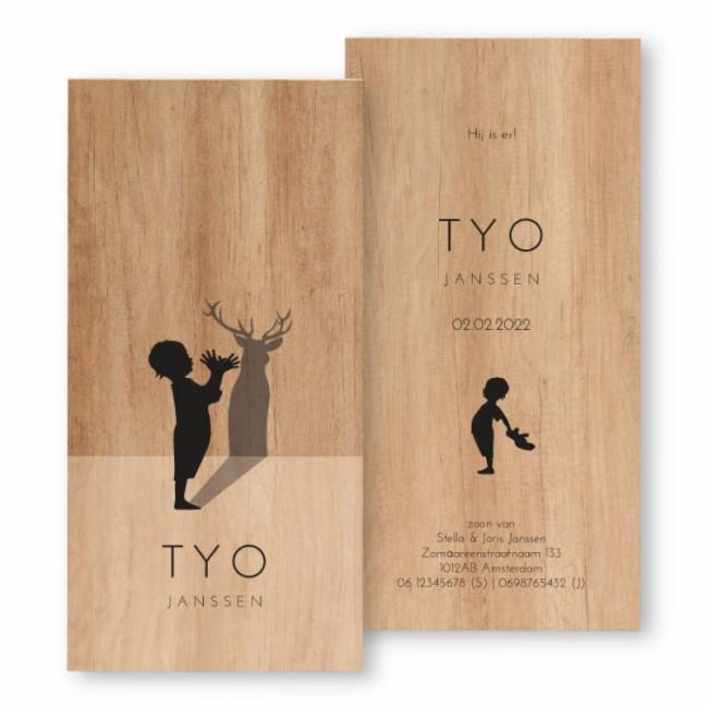 Geboortekaartje Geboortekaartje hout Tyo
