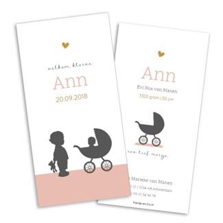 Geboortekaartje Geboortekaartje silhouet