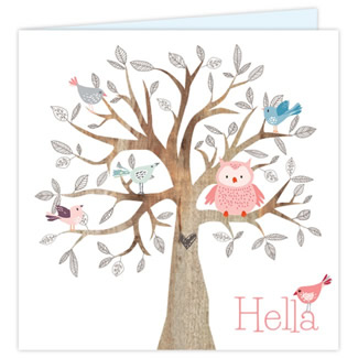 Geboortekaartje Geboortekaartje-uil-boom