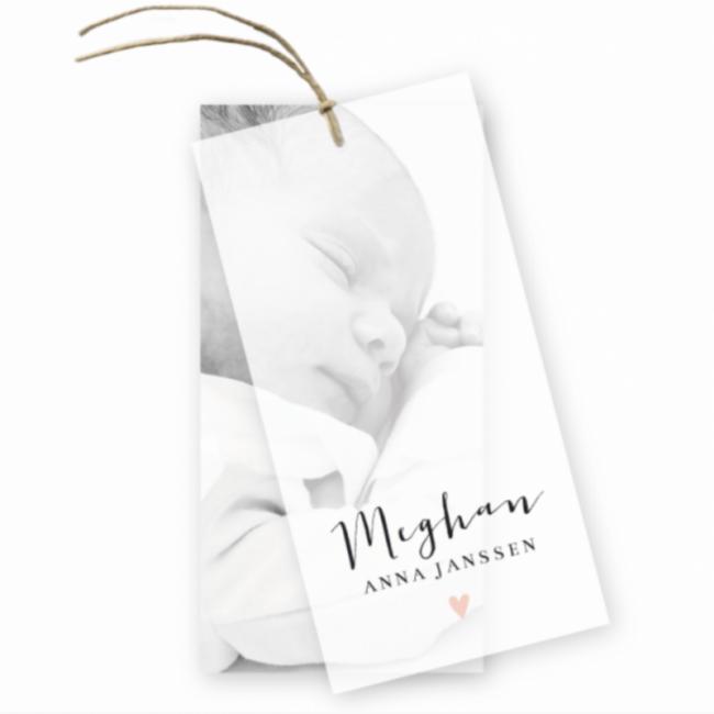 Geboortekaartje Geboortelabel Meghan kalk