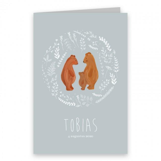 Geboortekaartje Getekende berenfamilie