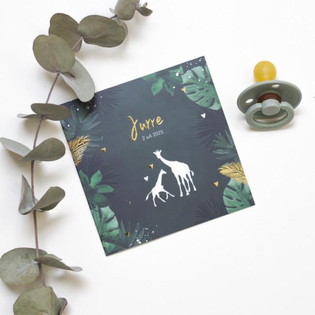 Geboortekaartje Giraf en goudfolie