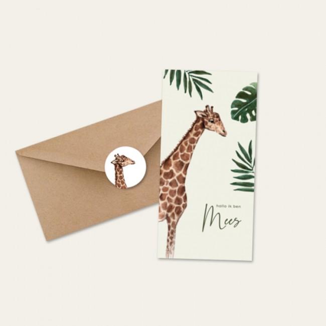 Geboortekaartje Giraf jungle jongen