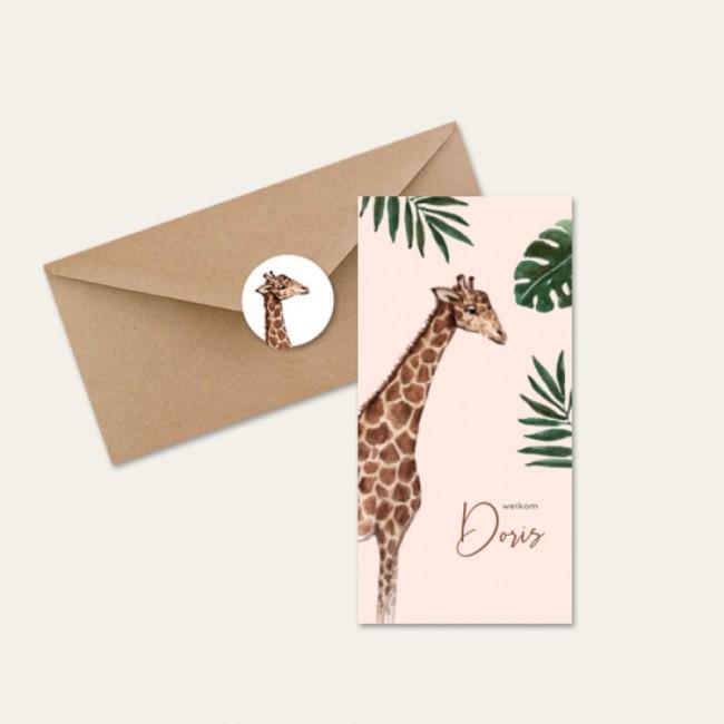 Geboortekaartje Giraf jungle meisje