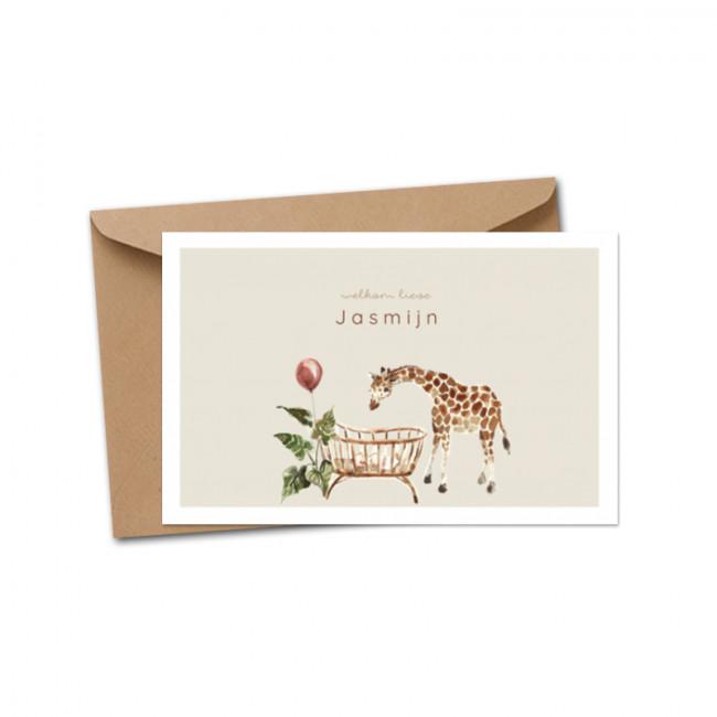 Geboortekaartje Giraffe bij wiegje