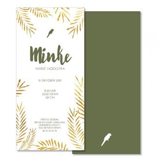 Geboortekaartje Goud bladeren  |  Mincke