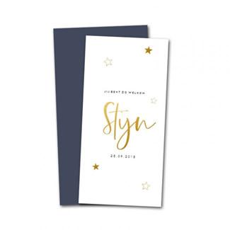 Geboortekaartje Gouden sterren en naam