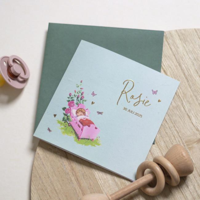 Geboortekaartje Goudfolie met roze wiegje
