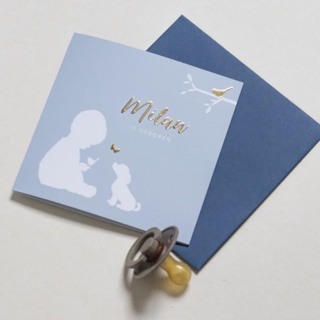 Geboortekaartje Goudfolie silhouet jongen