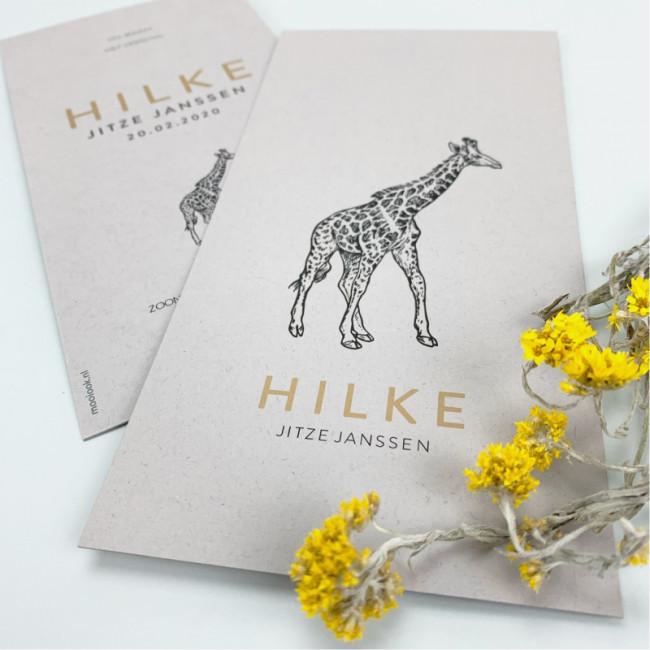 Geboortekaartje Grijs karton met giraf