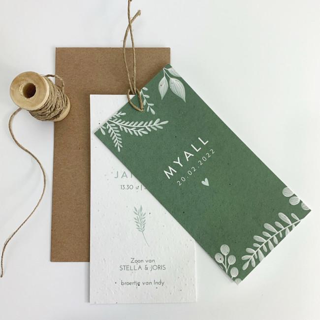 Geboortekaartje Groeipapier label groen