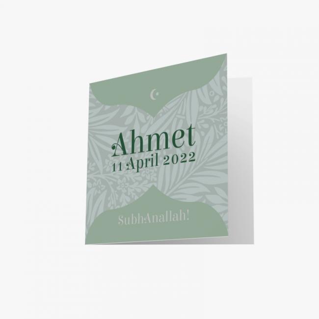 Geboortekaartje Groen Islamitisch kaartje