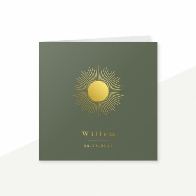 Geboortekaartje groen - zon - folie