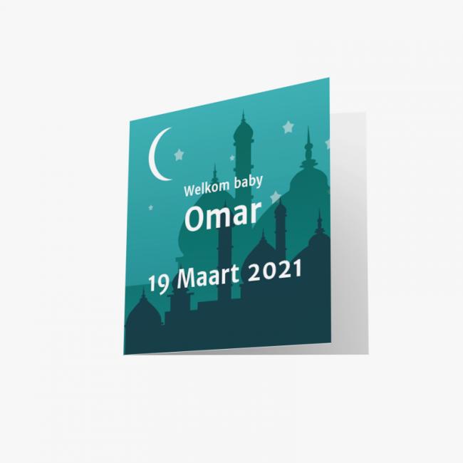 Geboortekaartje Groenblauw Irakees kaartje