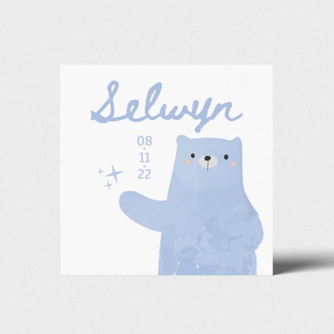 Geboortekaartje Grote blauwe beer