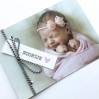 Geboortekaartje Grote foto met label