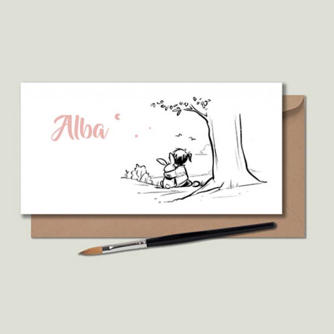 Geboortekaartje handgetekend bij boom