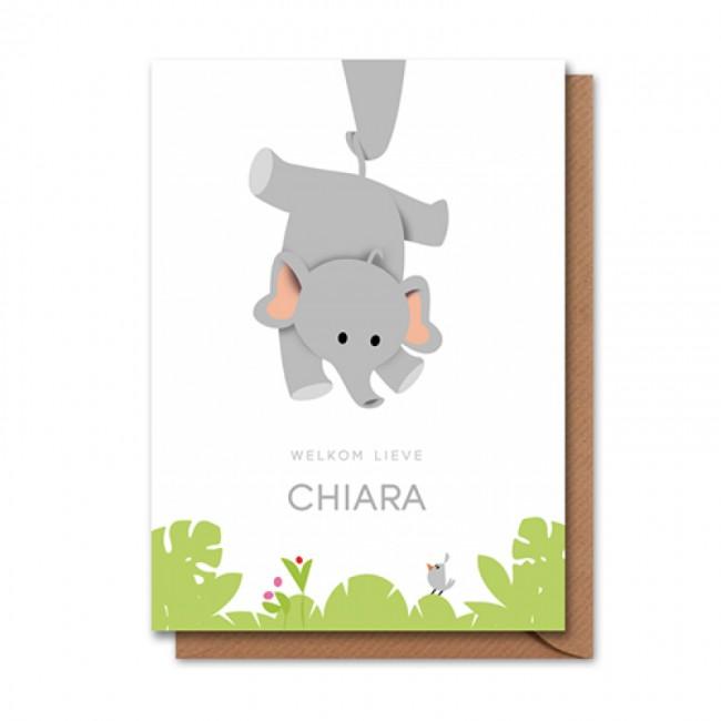 Geboortekaartje hangende olifant