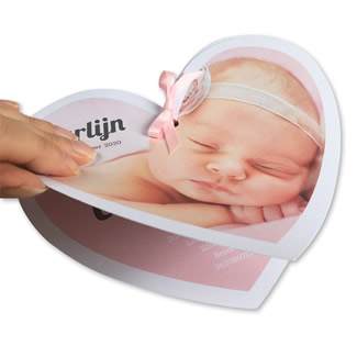 Geboortekaartje HARTkaart foto meisje