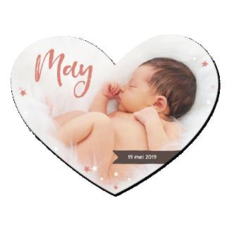 Geboortekaartje Hart met een foto