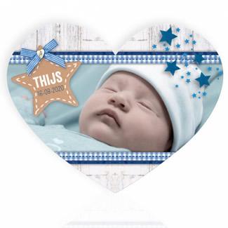 Geboortekaartje Hart met foto jongen