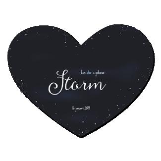 Geboortekaartje Hartvorm met sterrenhemel