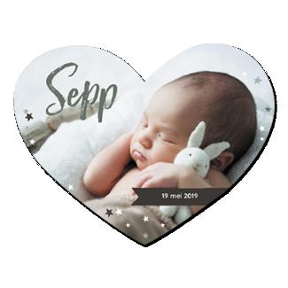 Geboortekaartje Hartvormig met een foto