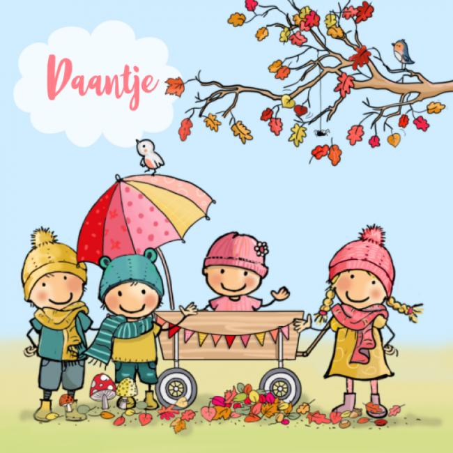Geboortekaartje herfst - gezin 4de kindje