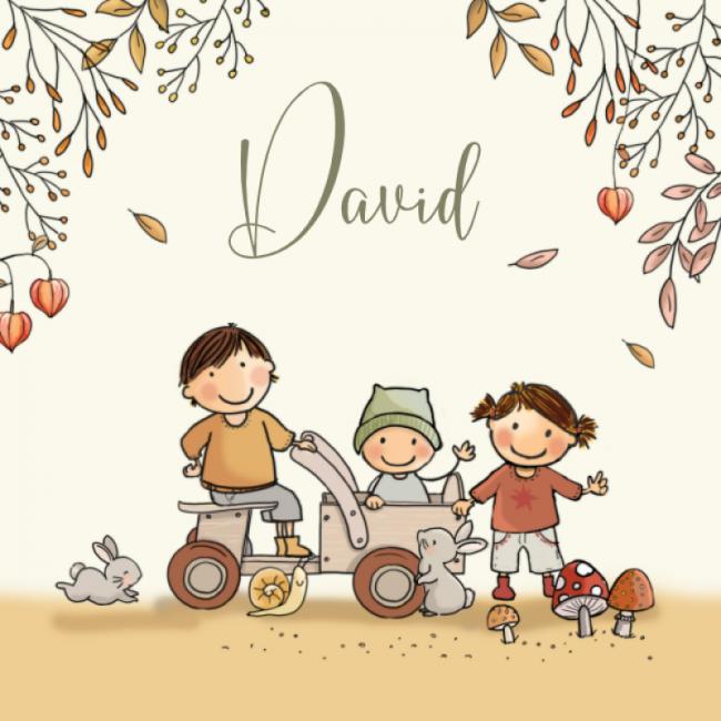 Geboortekaartje herfst gezin jongen