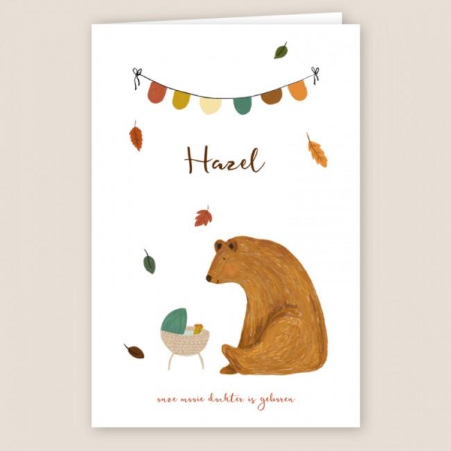 Geboortekaartje Herfst, wiegje en beer