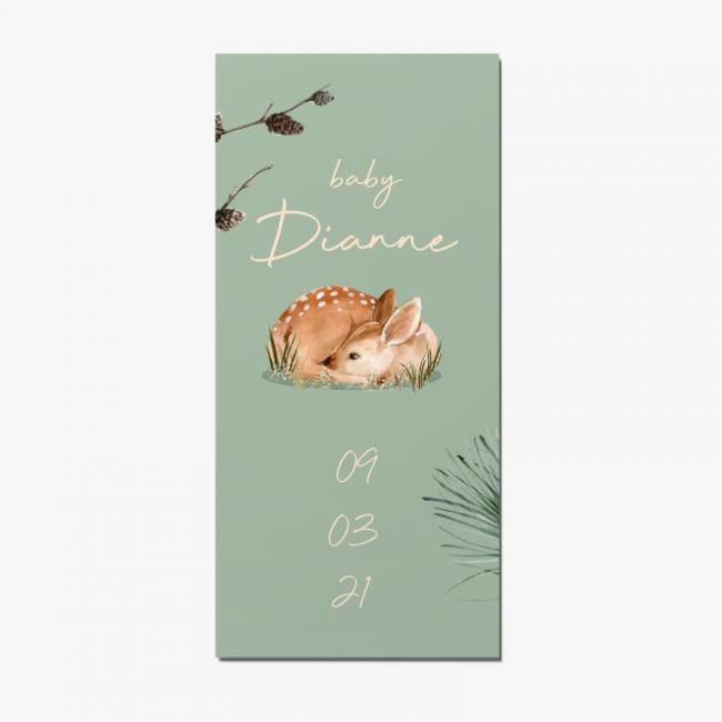 Geboortekaartje Hert met dennentakken
