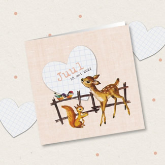 Geboortekaartje Hertje bij hek