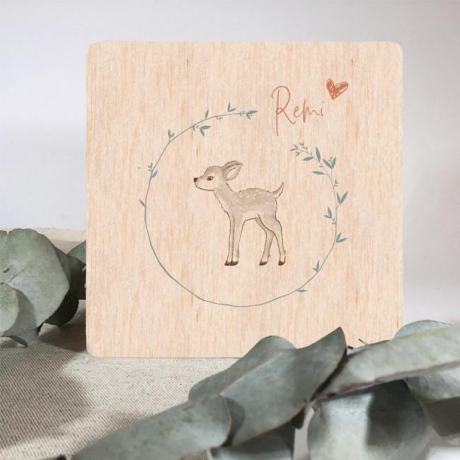 Geboortekaartje Hertje op echt hout