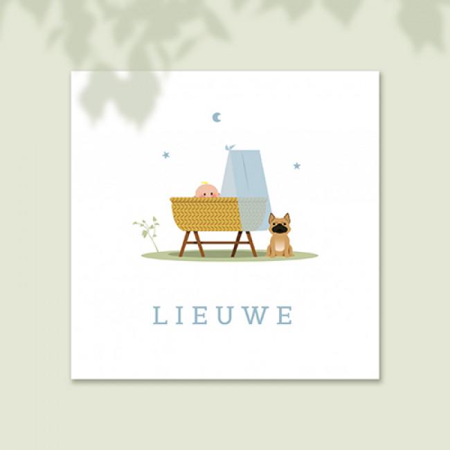 Geboortekaartje hond bij wieg