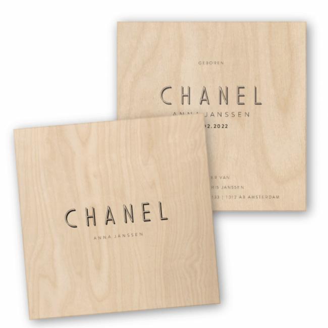 Geboortekaartje Hout Chanel