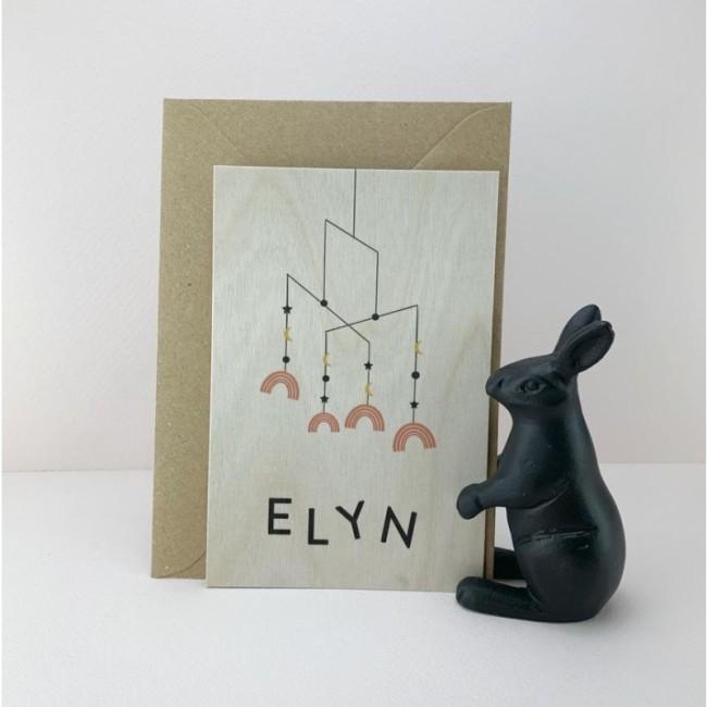Geboortekaartje Hout Elyn mobiel regenboog