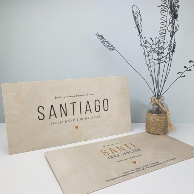 Geboortekaartje Hout geboorte Santiago