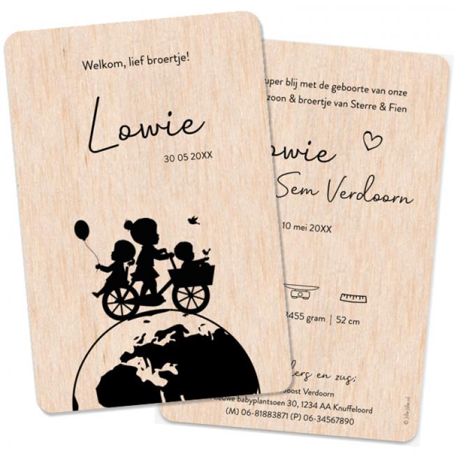 Geboortekaartje Houten kaartje silhouet