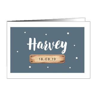 Geboortekaartje Houten label