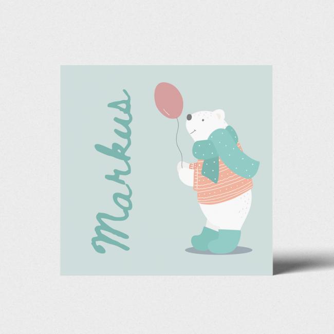 Geboortekaartje Ijsbeer met ballon