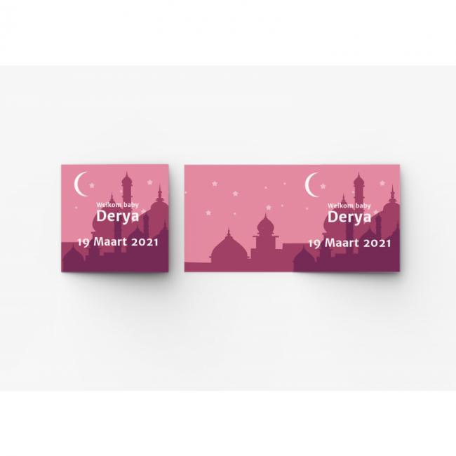 Geboortekaartje islamitische kaart roze