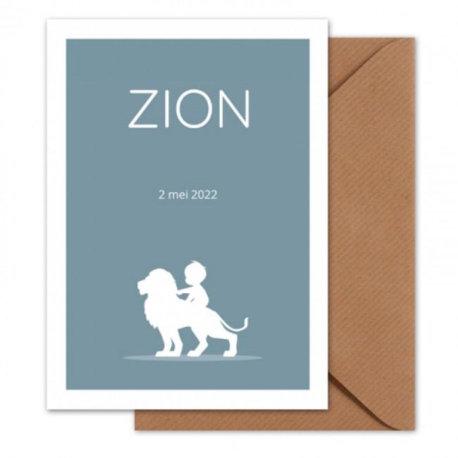Geboortekaartje jongen op leeuw