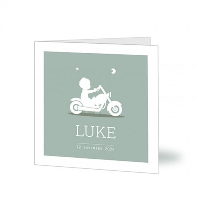 Geboortekaartje jongen op motor