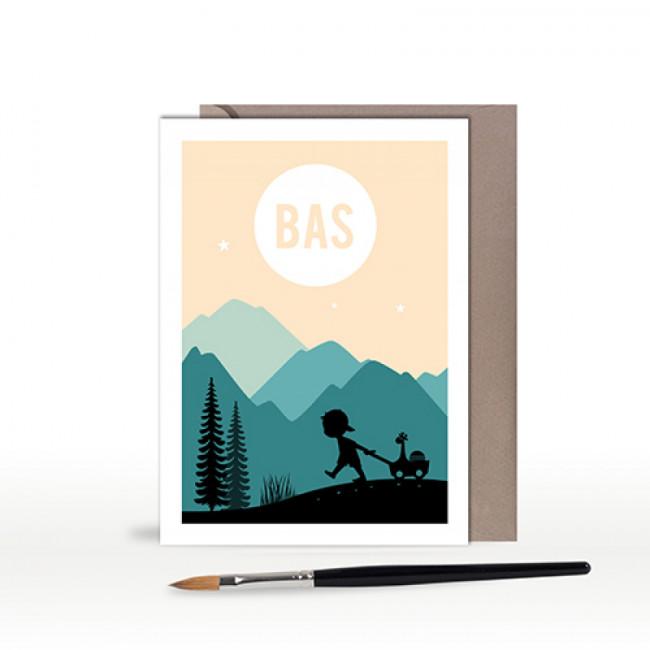 Geboortekaartje jongen silhouet in bergen